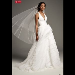 White by Vera Wang Tiered T Back Wedding Dress. 12